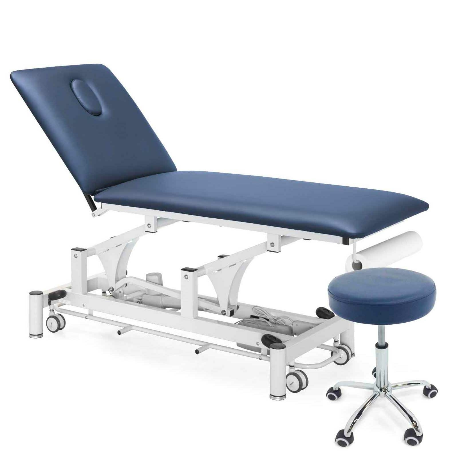 Table PhysioPRO bleu marine avec housse et tabouret assortis